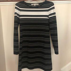 Long Sleeve A-line Striped Dress